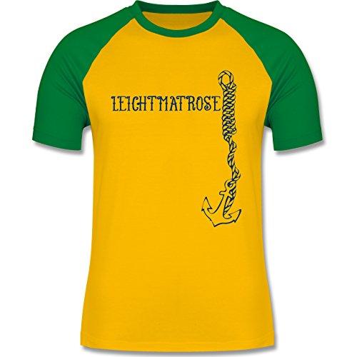JGA Junggesellenabschied - Leichtmatrose Anker - zweifarbiges Baseballshirt für Männer Gelb/Grün