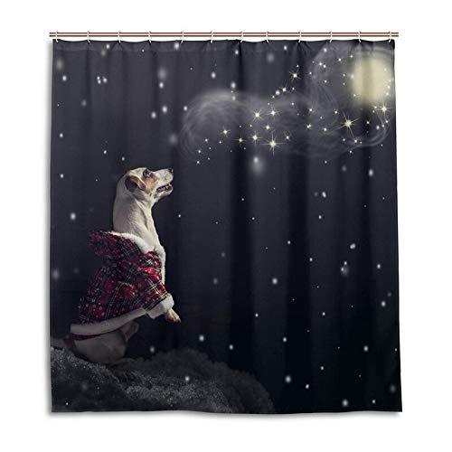 eihnachten Kostüm Blick Nach Oben Himmel Dusche Vorhang wasserdichte Bad Vorhang Mit Haken Badezimmer Dekor W180xH200cm pro ()
