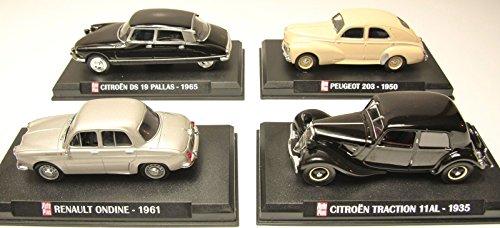 Preisvergleich Produktbild SATZ von 4 RENAULT & CITROEN AUTOS : DS ONDINE 203 TRACTION / 1:43 SCALE COLLECTIBLE AUTO