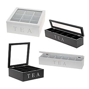 Tea Box – Rechteckige Holz Tee Box 6 Fächer Transparent