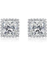 26e59dff0aa0 Diamond Treats Pendientes PLATA DE LEY 925 Centro de Circonitas Cúbicas  Blancas Cuadradas