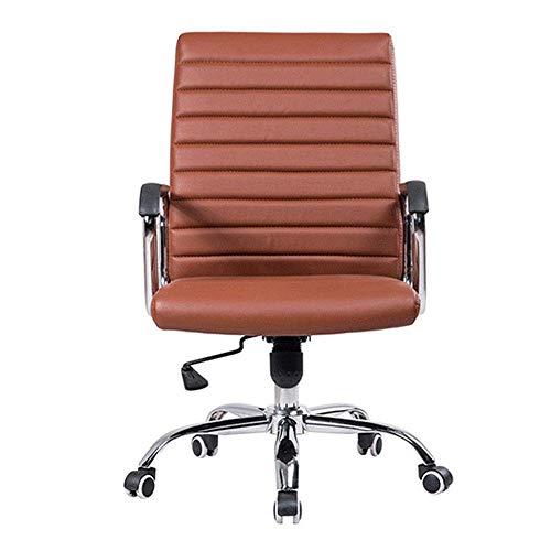 WCK Bürostuhl PU Leder Kippbar Ergonomisches Design 360 ° Drehung Einstellbare Sitzhöhe Computerstuhl,Black,Brown