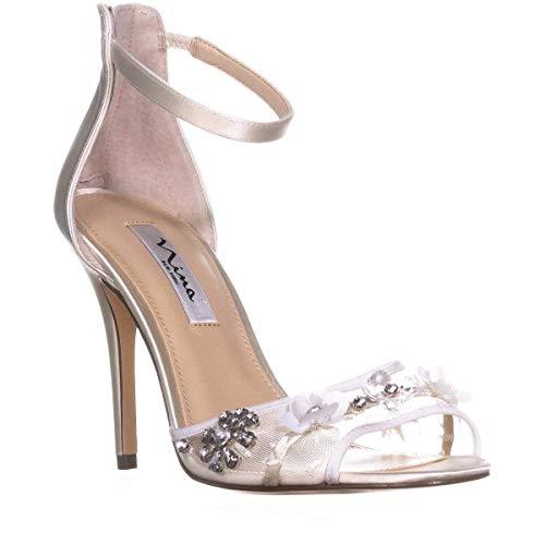 Nina Frauen Flache Sandalen Weiss Groesse 8.5 US /39.5 EU Nina Ankle Strap Heels