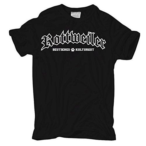 Männer und Herren T-Shirt ROTTWEILER deutsches Kulturgut (mit Rückendruck) Schwarz