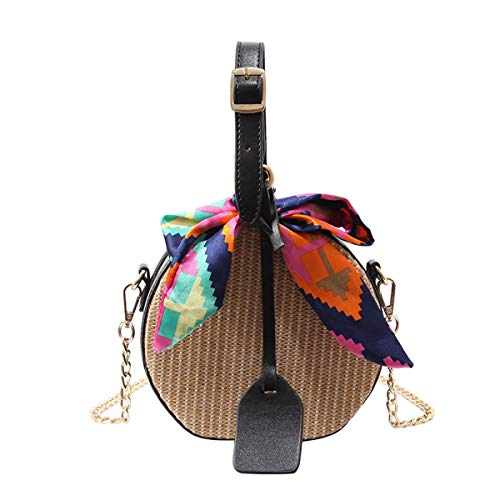 Dark Area Mini Cute Strohtaschen Damen Handtaschen Sommer Strohsack Crossbody Tasche Retro Schulterbeutel Freizeit Geflochten Strandtasche