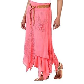 Hibote Femmes Jupe Asymétrie longue Rétro Bohème Hippie Chic Plissé Jupe Couture de dentelle Elegant Coton Robe Taille Haute Elastique A-Line Maxi Jupe Pas de ceinture XL