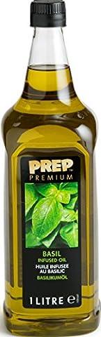 PREP PREMIUM Basilikumöl 1 x 1000 ml PET - Infused Oil natürliches Basilikumaroma für Fisch, Geflügel, Gemüsegerichte oder Salatdressings, Olivenöl mit (Olivenöl Basilikum Pasta)
