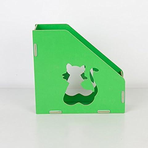Rack de madera admitir archivos archivo desktop admite cartuchos grandes creativos organizar archivos carpeta , verde