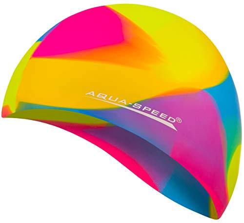 Aqua Speed® Set - BUNT Badekappe + Kleines Mikrofaser Handtuch   Silikon   Bademütze   Badehaube   Schwimmhaube   Erwachsene   Damen   Herren   Kinder, Kappen Designs:51. Bunt / 53