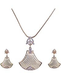 Pushti Gold Brass Pendant Set For Women (PF_007)