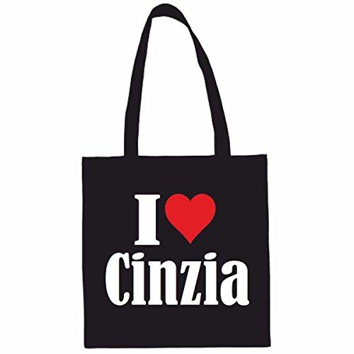 Sac à Bandoulière I Love Cinzia Shopping Bag Sac d'école Sac de Sport 38x 42cm en Noir ou Blanc.. Le cadeau parfait pour votre amoureux