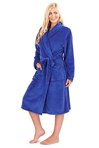 Damen Loungeable Boutique Lang Fleece Bademantel Weich Bademantel Blau