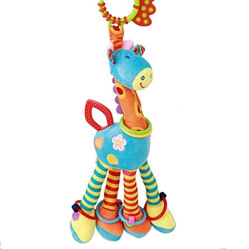 Lalang Baby Plüschtiere, Kleinkindspielzeug,Beschwichtigen Schlaf Spielzeug,Kinderwagen, der Spielzeugauto-Drehmaschine hängenden Baby Rasseln, Nette Giraffe (Blau)