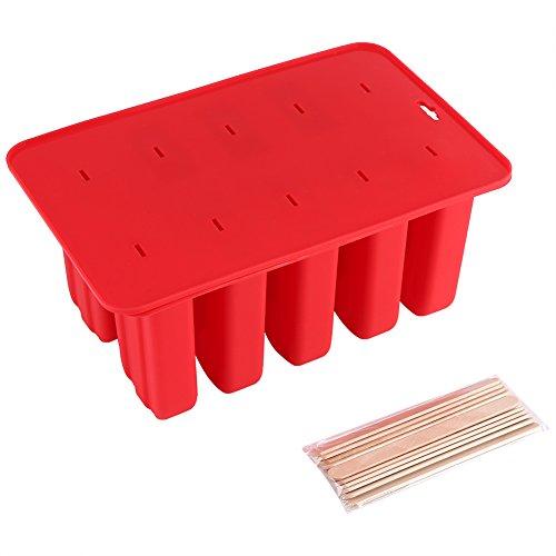 Eisformen Aramox Stieleisformen Eisformen Eis am Stiel mit 10 Eisformen, 12x Holzstielen und Deckel