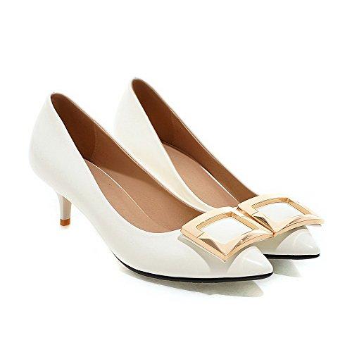VogueZone009 Femme Tire Fermeture D'Orteil Pointu à Talon Correct Pu Cuir Mosaïque Chaussures Légeres Blanc