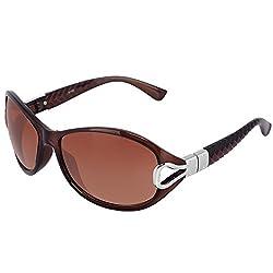 Silver Kartz Oval Unisex Sunglasses (wy079|40|Brown)