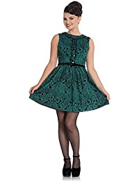b97292378341ff Hell Bunny 50s Mini Skater Dress Woodland Trees Sherwood Dark Green