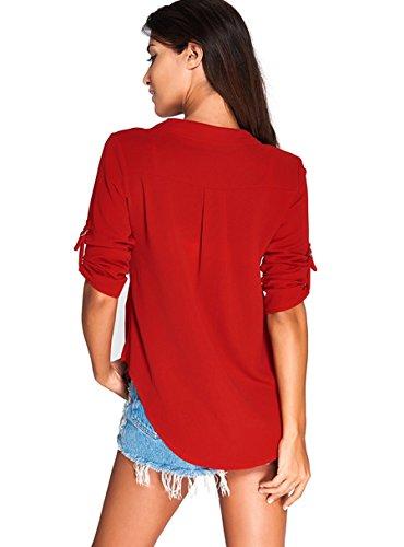 KeepSa Damen V Ausschnitt Chiffon, Sommer 3/4 Ärmel Bündchen Bluse Tops T-Shirt Shirt Rot
