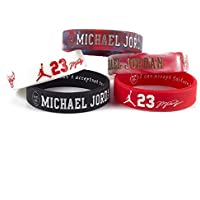 Lorh's store NBA Basketball Michael Jordan Porträt Armband Nummer 23 Silikon Inspirierende Wort Sport Schweißbänder 5 Pcs