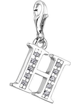 Nenalina Charm Buchstabe H Anhänger in 925 Sterling Silber für alle gängigen Charmträger - 712708-019
