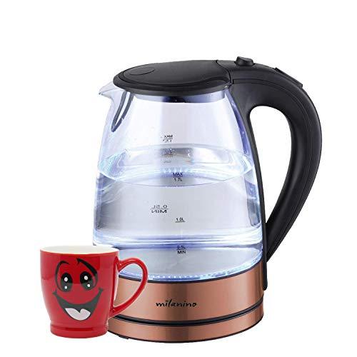 Kupfer-glas (milanino Glas Wasserkocher, 1,7 Liter, mit LED-Beleuchtung,Teekocher automatische Abschaltung, Kabellos, 2200 Watt, Elektrischer Wasserkocher, integrierter Kalkfilter im Kupfer Design)