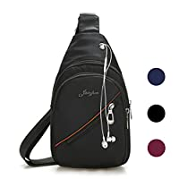 Veriya Waterproof Casual Cross Body Bag Outdoor Shoulder Sling Chest Pack with Headphone Port for Hiking Cycling Travel for Man Women Girl (Black)