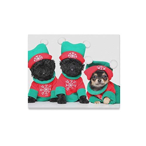 Gruppe Kostüm Weihnachten - JOCHUAN Wandkunst Malerei Gruppe Welpen Weihnachten Kostüme Posieren Auf Drucke Auf Leinwand Das Bild Landschaft Bilder Öl Für Home Moderne Dekoration Druck Dekor Für Wohnzimmer