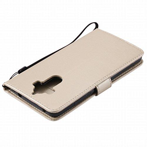 Custodia Huawei Mate 9 Cover, Ougger Alberi Gatto Printing Portafoglio PU Pelle Magnetico Morbido Silicone Flip Bumper Protettivo Gomma Shell Borsa Custodie con Slot per Schede (Blu) Oro