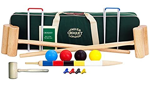 Reigate Croquet set - Regulation Full Sized Adult - 2017 UPDATE with Free Accesorises - Luxury Canvas Case - Jaques of London