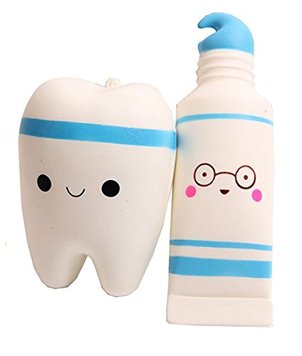 Novelty Games Toy, Kfnire 1 PC Smiley Tooth & 1 PC Cartoon Toothpaste Squishies Stress Reliever Toys Charms Soft Squishy Toy (Blue)