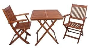 Balkonset, Sitzgruppe, Balkontischgruppe, massives Eukalyptusholz FSC, quadratischer Tisch + 2 Klapparmstühle (985048)