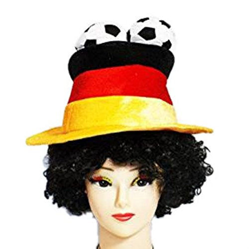 HAAC Fan Hut Plüsch Fußballhut in Deutschlandsfarben Deutschland mit 3 Fußbälle Fußball 2014 Fußball-hut