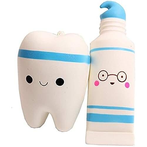 juguetes kawaii squishy toy, Kfnire diente y pasta de dientes Juguete de alivio de tensión juguete para adultos (azul)
