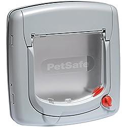 PetSafe - Chatière Deluxe Staywell pour Chat avec Système de Verrouillage à 4 Positions, Poids 7 kg max., Extension de Tunnel (incluse) - Gris