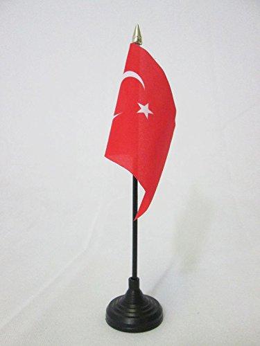 AZ FLAG TISCHFLAGGE TÜRKEI 15x10cm goldene splitze - TÜRKISCHE TISCHFAHNE 10 x 15 cm - flaggen