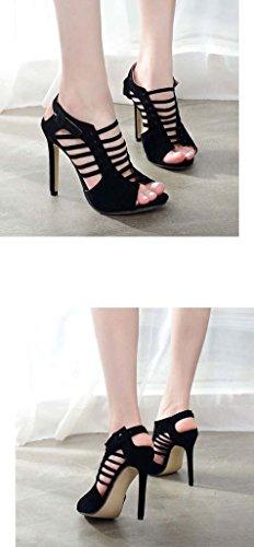 SHEO sandales à talons hauts Ladies Europe et les États-Unis à talons hauts croisés avec de fines sandales creuses ( Couleur : Noir , taille : 36 ) Noir