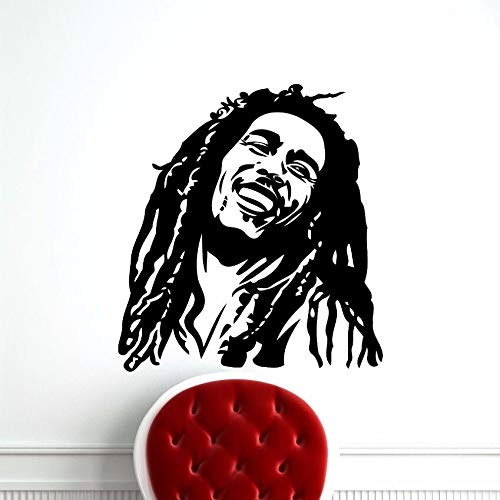 zqyjhkou Adesivi in   Vinile Bob Marley Adesivo da Parete Reggae Music Star Home Art Decor Vinile Rimovibile Wallpaper Bob Marley 71.4X78.2CM