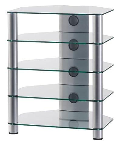 SONOROUS - RX 2150 TG. Meuble Hi-Fi 5 étagères. Verre transparent. Profilés aluminium gris.