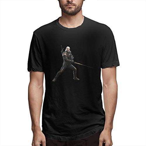 Hombre Personalizado Sudor Monster Hunter World Witcher 3 Geralt Manga Corta Camiseta Negra,S