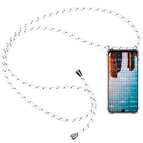 CLM-Tech Carcasa con Cuerda para Colgar Compatible con Xiaomi Redmi Note 7 - Funda Silicona Transparente con Cordon para Llevar en el Cuello, Negro Blanco