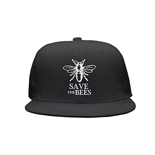 Voxpkrs Save The Bees Flache Krempe Baseball Caps Unisex Snapback Einstellbarer Hut für Männer/Frauen DV879 (Snapback-hut Für Frauen)