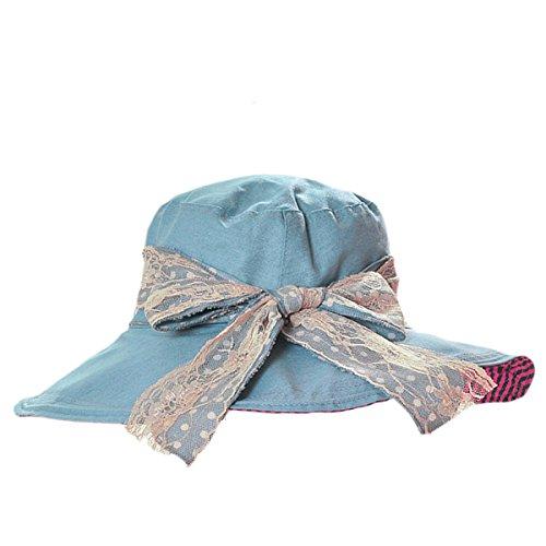 Butterme Printemps Eté Automne Mode Anti-UV Large Bord Chapeau de Soleil UPF 50+ souple chapeau de plage avec dentelle Bowknot pour les femmes dames bleu