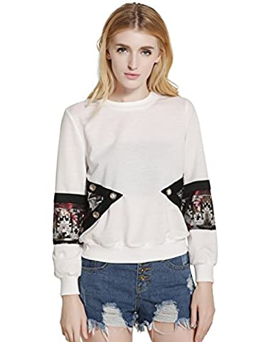 SunIfSnow Women Sequins Patchwork Cotton Splicing Joint Pullovers Tops Sweatshirt