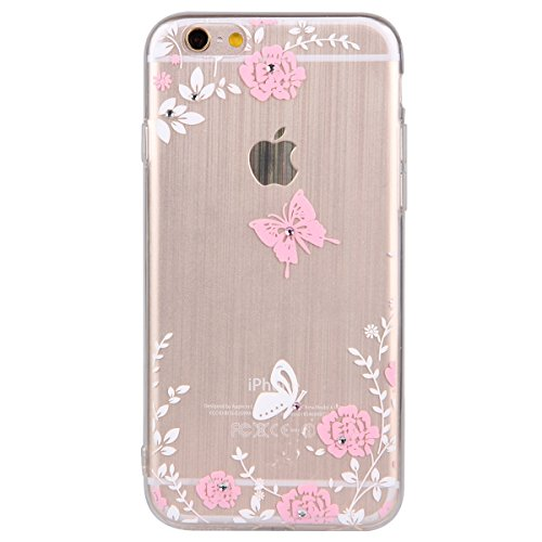 iPhone 6S plus Case,iPhone 6 plus Cover, Felfy Apple iPhone 6/6S plus 5.5 inch Rosa weiße Blume Muster Intarsien Shiny Funkeln Diamant Design Ultra Dünne weiche TPU Gel Silikon Transparent Clear Cryst Rosa Muster #6