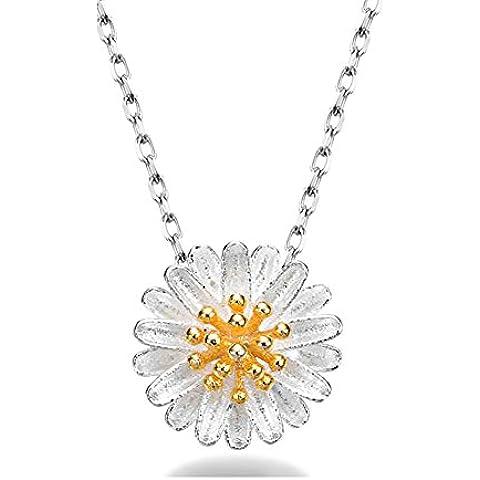 ZWX Donna semplicità accessori clavicola catena/ pendente fiori di crisantemo/ Collana di argento Margherita-A