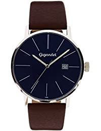 Gigandet Herren-Armbanduhr Minimalism Quarz Uhr Analog Lederarmband Blau Braun G42-012