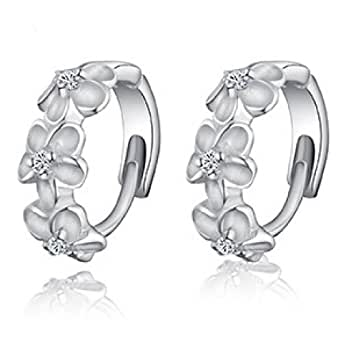 JMT 1Pair Lovely Flowers 925 Sterling Silver Plated Jewelry Earrings With Rhinestone For Wholesale Or Retail