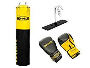 Fighter Box-Set inkl. Boxsack 180 x 35cm ungefüllt, PU Boxhandschuhe, Deckenhalterung und Heavy Duty Vierpunkt-Stahlkette