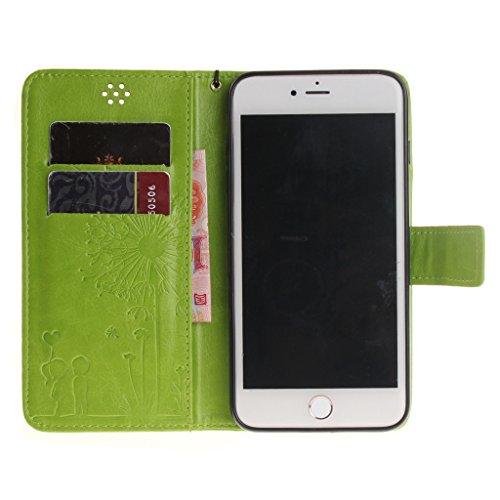iphone 7 Plus Coque, MYTHOLLOGY Magnétique Portefeuille Fente Carte avec Support Housse PU Cuir Case à rabat Folio EtuI pour iphone 7 Plus (5.5) - Or Vert