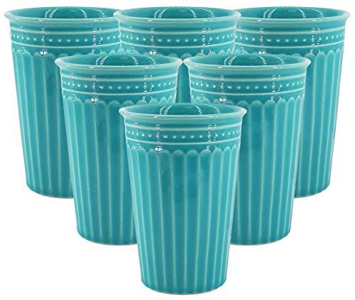 My-goodbuy24 6er Set XXL Kaffeebecher Set Keramik 400ml in Türkis - Rustikal Kaffeetasse für Cappuccino, Kaffee, Latte Macchiato oder Tee (6 x Türkis)